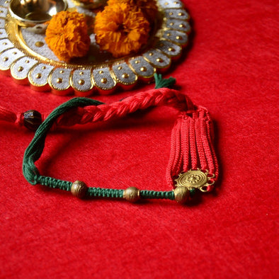 Pital Rakhi Combo Green & Red