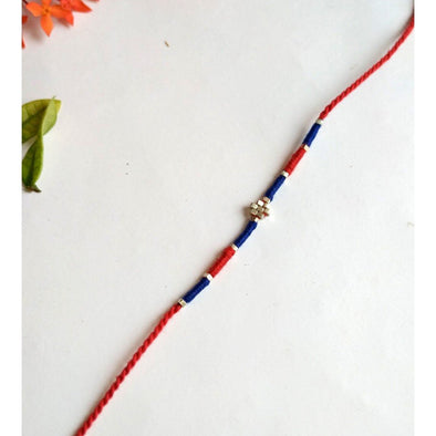 Pital Rakhi Combo Blue & Red