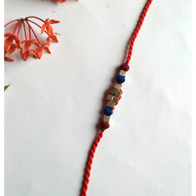Pital Rakhi Combo Red & Blue