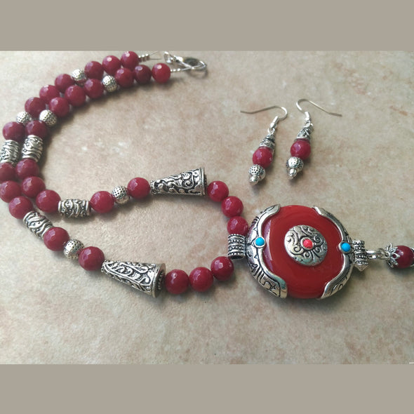 Red Agates beads Necklace set