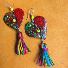 Colourful Heart Earrings With Tassels