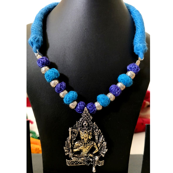 Blue Cotton Thread Neckpiece