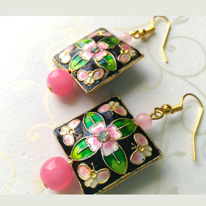 Meenakari Square Earrings