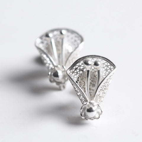 Silver Filigree Floral Stud Earrings