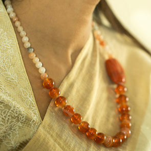 The Bead Story - Orange Glass Beads Necklace