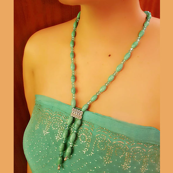 The Bead Story - Torquoise Blue Glass Beads Necklace