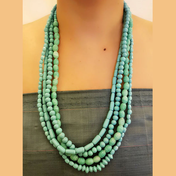 The Bead Story - Blue Beaded Multi Layered Long Necklace