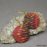 Ikat Inspired Earrings in Pink and Purple with Gold 3