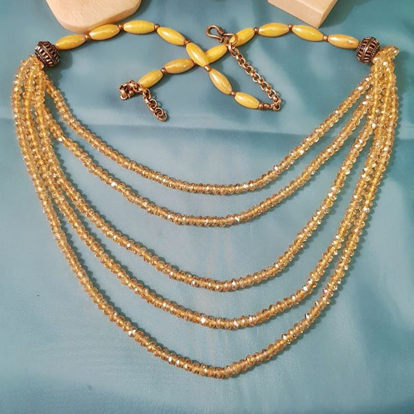 The Bead Story - Yellow Glass Beads Multilayer Necklace