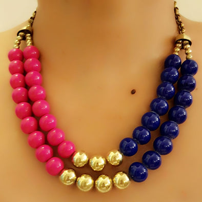 The Bead Story - Blue and Pink Two Layer Necklace