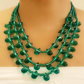 The Bead Story - Green Glass Beads Necklace Set