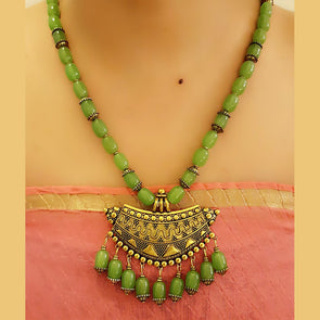 The Bead Story - Light Green Glass Beads Long Necklace