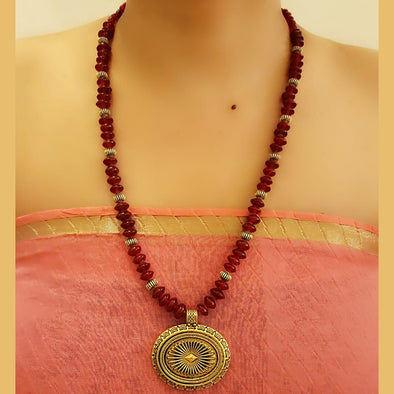 The Bead Story - Maroon Glass Beads Long Necklace