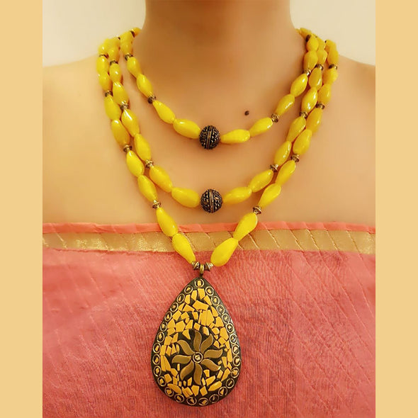 The Bead Story - Yellow Glass Bead Three Layer Necklace Set