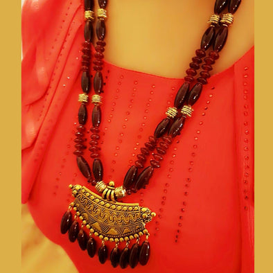 The Bead Story - Red Glass Beads Long Necklace