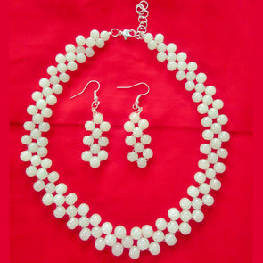 Beads Necklace Set - White