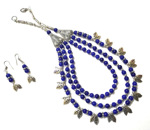 German Silver Blue Beaded Three Layered Jewellery Set