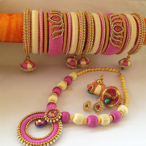 Pink and Half White Necklace Set with Bangles