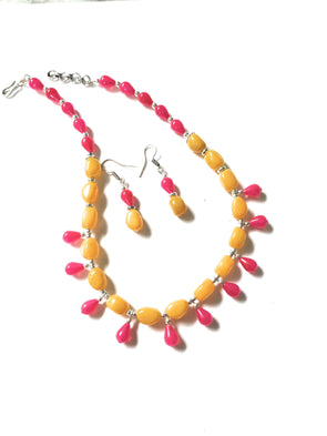 Handmade German Silver Yellow/Fuchis Pink Necklace Jewellery Set