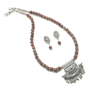German Silver Sparkling Onyx Beaded Necklace/Jewellery Set