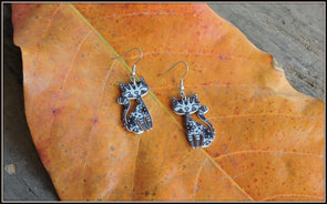 Grey Kitty Earrings