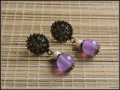 Purple and white beads antique stud earrings