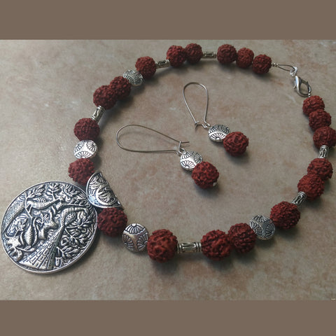 Rudraksha Birdy Necklace Set