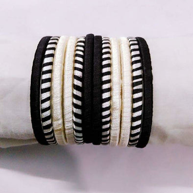 Silk Thread Bangles - Black and White