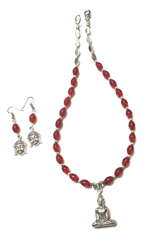 German Silver Maroon Lord Budhha Necklace/Jewellery Set