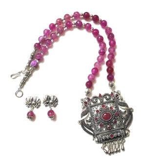 German Silver Pink Shaded Onyx Beaded Stone Fitted Pendent Necklace/Jewellery Set