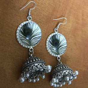Cabochon Feather Jhumka