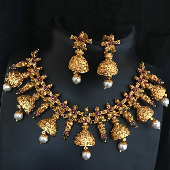 Gold Tone Jhumki Choker Necklace Set