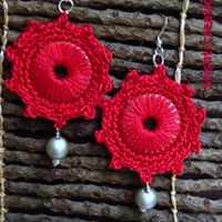 Crochet Red Earrings