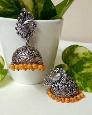 Yellow royal big jhumkas