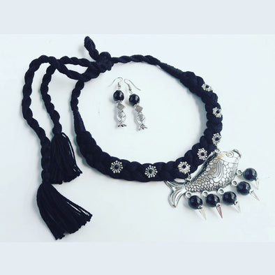 Black Thread Fish Necklace