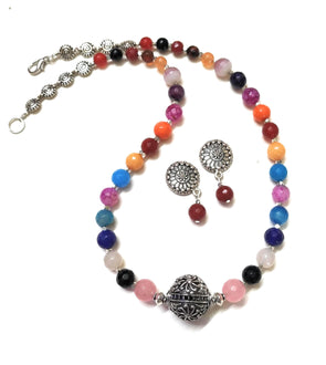 Multicolour Onyx Beaded German Silver Necklace Set