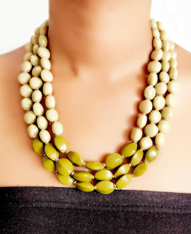 Beige and Green Glass Bead Necklace