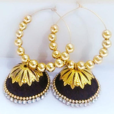 Silk Thread Jhumkas in Bali Rings