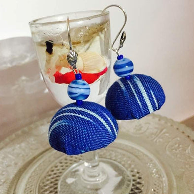 Denim Blue Fabric Jhumka Earrings