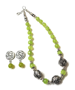 Handmade Light Green Onyx Beaded German Silver Necklace Set