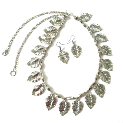 Handmade German Silver Leaf Charms Necklace Jewellery Set