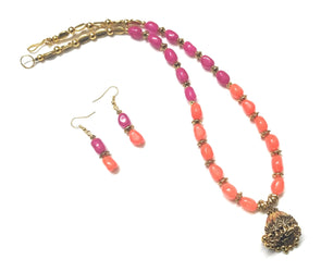 Orange And Fuchisa Pink Beaded Golden Jhumka Neckpiece/Necklace Set