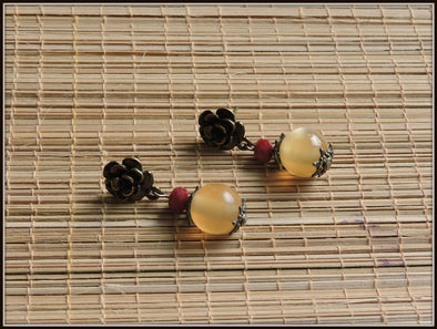 Brown and maroon beads antique rose stud earrings