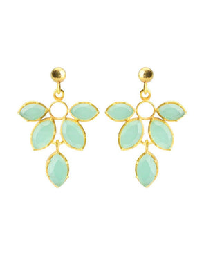 Vezoora Mint Aquachalcedony Leaf Earrings