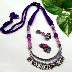 Purple ethnic agate neckset