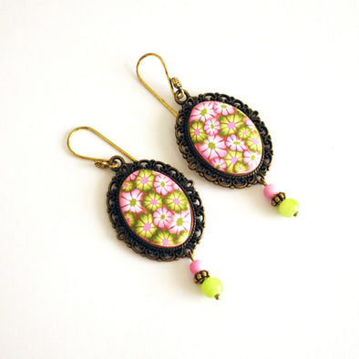 Millefiore Green Earrings