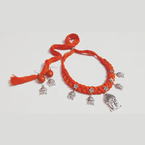 Orange Thread Buddha Necklace