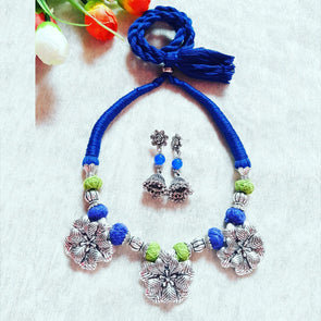 Flower Thread Statement Neckpiece