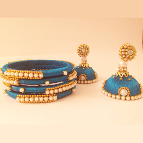 Blue Earrings and Bangles set