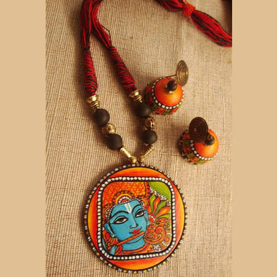Mural Krishna on Terracotta Necklace Set
